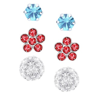Molly and Emma Sterling Silver and Crystal Stud, Flower, and Ball Stud Earring Set