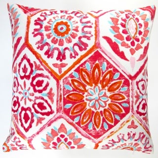 Artisan Pillows Outdoor 18-inch Pink Modern Abstract Geometric Caribbean Beach House Style Throw Pillow Cover (Set of 2)