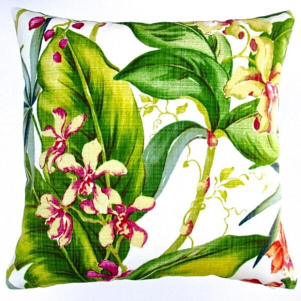 Artisan Pillows Indoor/ Outdoor 18-inch Hawaiian Tropical Island Orchid Floral Throw Pillow (Set of 2)