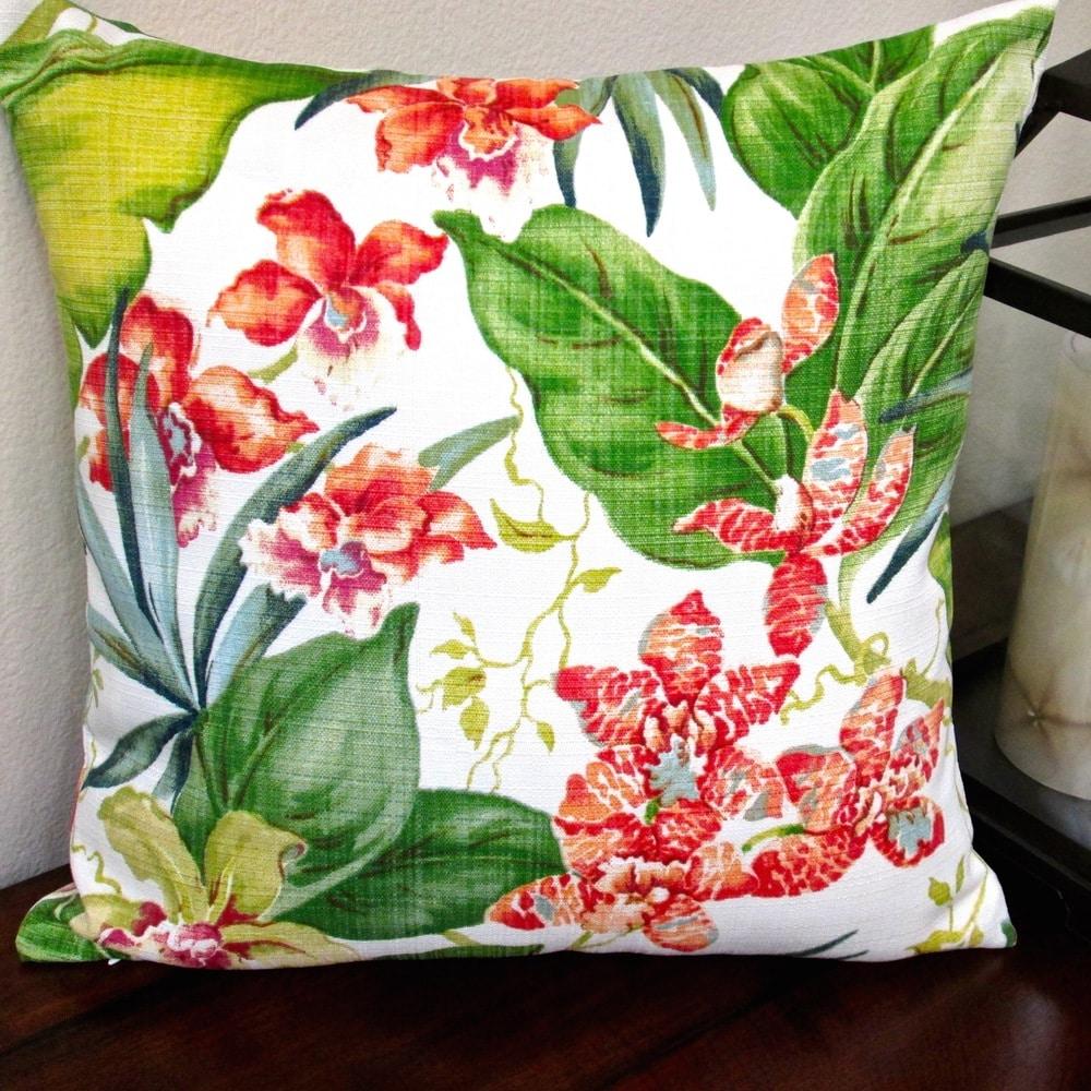 Shop Artisan Pillows Indoor/ Outdoor 18-inch Hawaiian Tropical Island Orchid Floral Throw Pillow (Set of 2) - 10219646