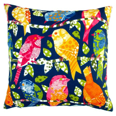 Artisan Pillows Indoor/ Outdoor 18-inch Kids Animals Colorful Birds in Navy Blue Modern Contemporary Throw Pillow (Set of 2)