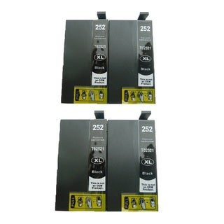 4-Pack Replacing T252XL120 Black Ink Cartridge For Epson WF-3620 WF-3640 WF-7110 WF-7610 WF-7620 Printer