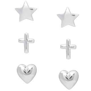 Molly and Emma Sterling Silver Star, Heart, and Cross Stud Earrings Set