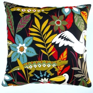 Artisan Pillows Indoor/ Outdoor 18-inch Kids Colorful Crocodile and Bird and Flower Black Throw Pillow Cover (Set of 2)