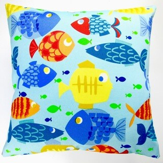 Artisan Pillows Indoor/ Outdoor 18-inch Kid's Colorful Fish Blue Throw Pillow Cover (Set of 2)