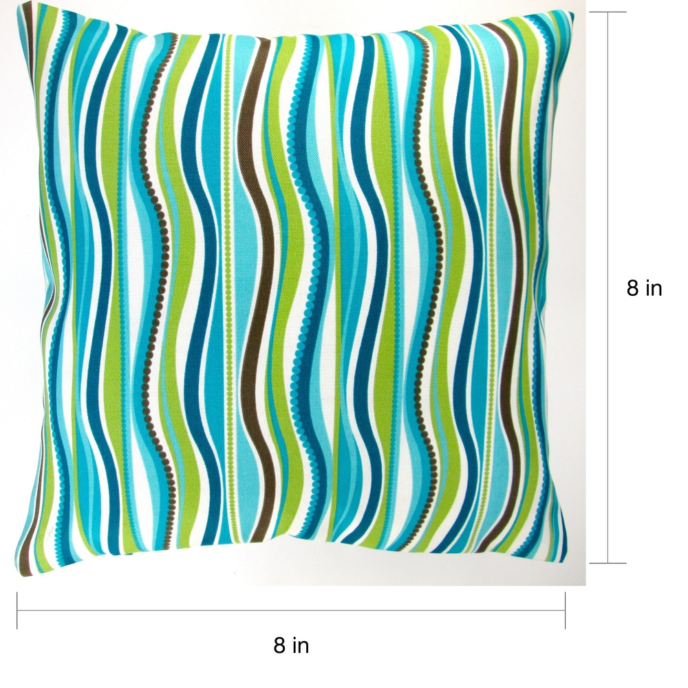 Shop Artisan Pillows Indoor/ Outdoor 18-inch Blue Green Stripe Modern Caribbean Coastal Beach House Throw Pillow Cover (Set of 2) - 10219661