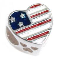 Queenberry Sterling Silver Patriotic Heart 'Military Mom' European Bead Charm