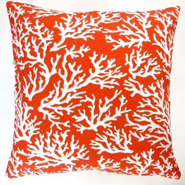 Outdoor Beach Throw Pillows : Artisan Pillows Outdoor 18-inch Orange Coral Beach Throw Pillow (Set of 2) - Free Shipping Today ...