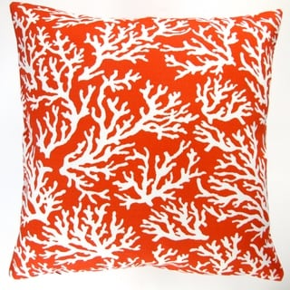 Artisan Pillows Outdoor 18-inch Orange Coral Beach Throw Pillow (Set of 2)