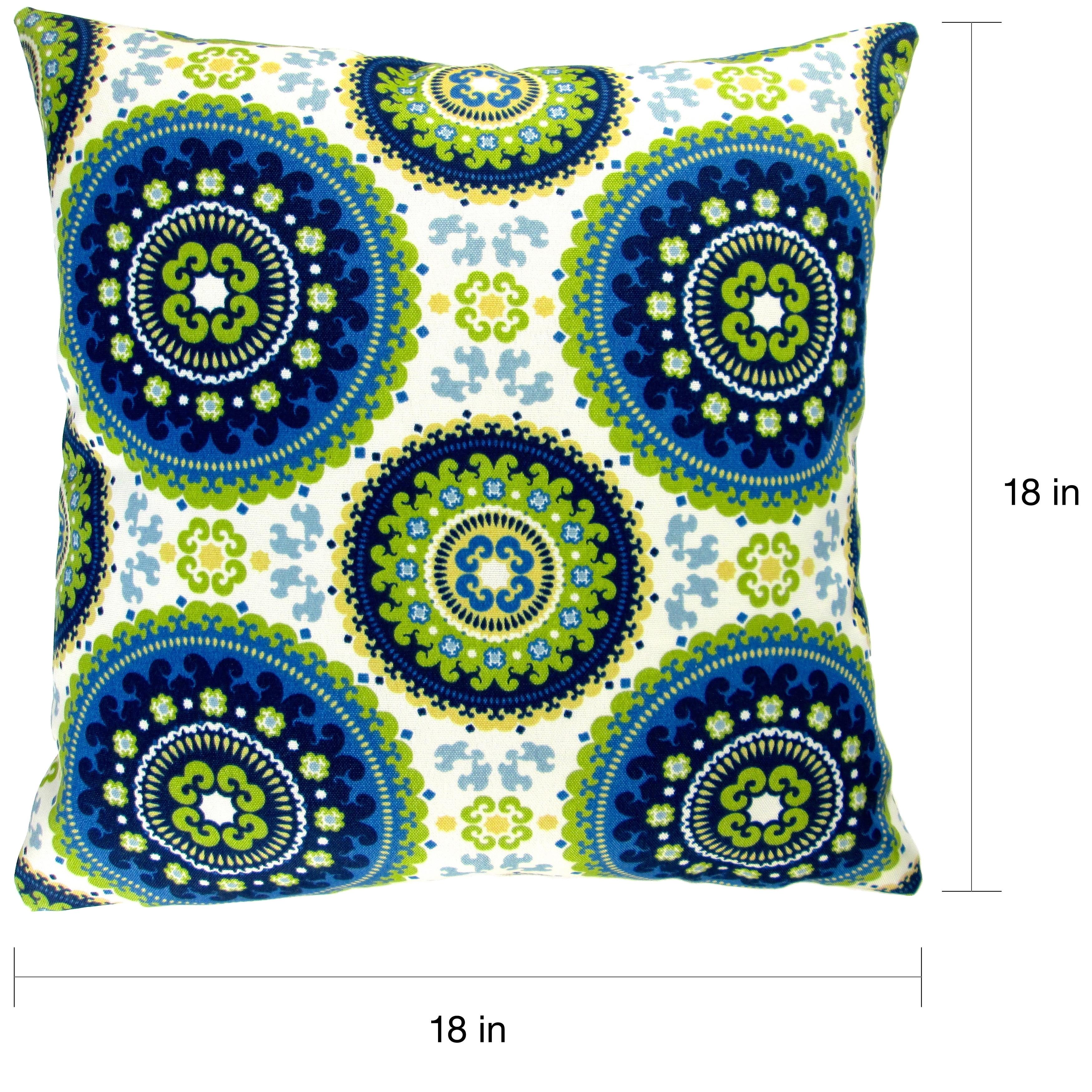 Artisan Pillows Indoor Outdoor 18 Inch Modern Contemporary Geometric Circles Blue Lime Green Yellow Throw Pillow Set Of 2 Overstock 10219693