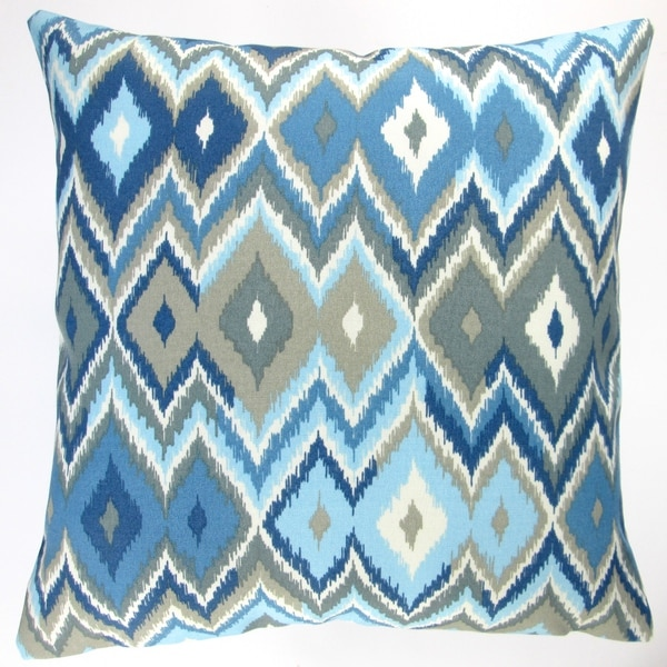 Modern Blue Outdoor Pillows : Artisan Pillows Indoor/ Outdoor 18-inch Blue Lake Modern Contemporary Geometric Throw Pillow ...