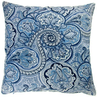 Artisan Pillows Outdoor 18-inch Blue Paisley Modern Contemporary Geometric Coastal Beach House Decor Throw Pillow (Set of 2)