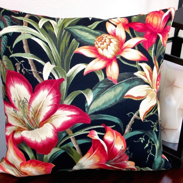 Pillows Indoor Outdoor 18 Inch Tommy Bahama Fabric Black Hawaiian Tropical Hibiscus Flower Throw Pillow Set Of 2