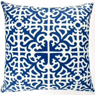 Artisan Pillows Outdoor 18-inch Classic Indigo Blue Garden Maze Modern Contemporary Geometric Throw Pillow Cover (Set of 2)