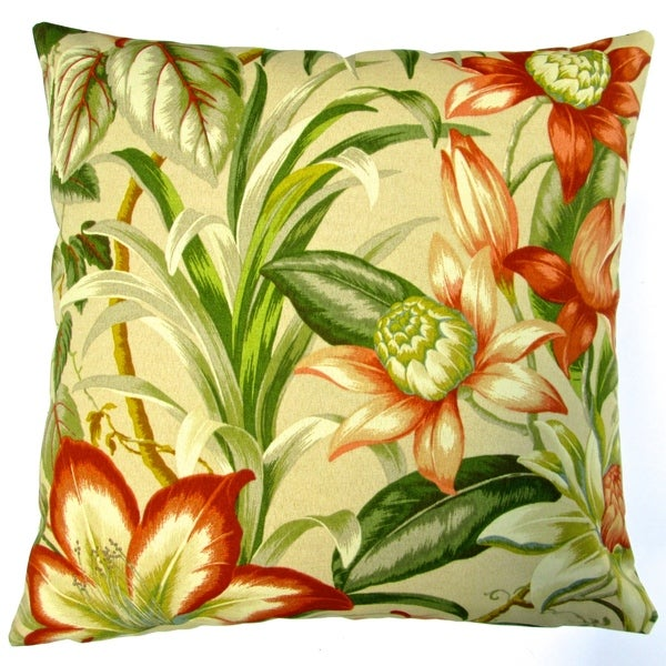 Pillows Indoor Outdoor 18 Inch Tommy Bahama Fabric Botanical Hawaiian Hibiscus Throw Pillow