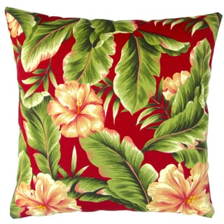 Artisan Pillows Indoor/ Outdoor 18-inch Red Hawaiian Tropical Island Beach House Hibiscus Flower Throw Pillow (Set of 2)