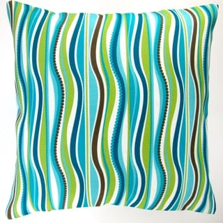 Artisan Pillows Indoor/ Outdoor 18-inch Modern Blue Green Wave Stripe Caribbean Beach House Decor Throw Pillow (Set of 2)