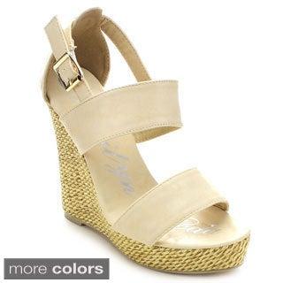 Marilyn Moda Harper Women's Open Toe Ankle Strap Espadrille Platform Wedges