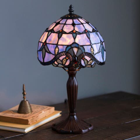 "River of Goods 14.75"" Stained Glass Allistar Accent Lamp - 8""L x 8""W x 15""H"