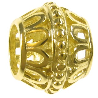 Queenberry 14k Gold over Sterling Silver Flower Barrel European Bead Charm