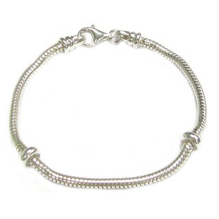 Queenberry Sterling Silver 3mm Caprice Snake Bracelet with 2 Rubber Stoppers for European Bead Charm - White