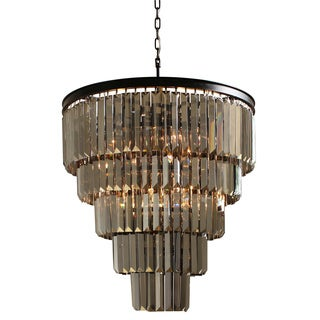 D'Angelo 5-tier Iron Round Fringe Crystal Smoked Glass Chandelier
