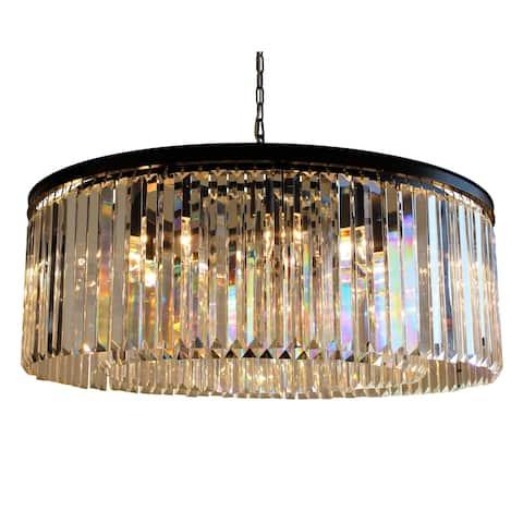 D'Angelo 12-Light Round Fringe Clear Crystal Chandelier - N/A