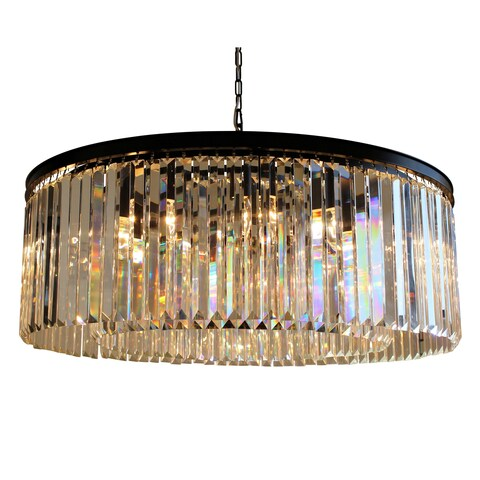 D'Angelo 12-Light Round Fringe Clear Crystal Chandelier - Black