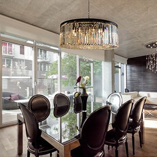 D'Angelo 12-Light Round Fringe Clear Crystal Chandelier
