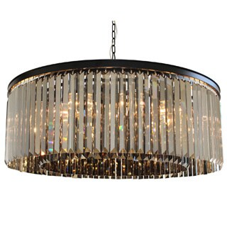D'Angelo 12-Light Round Fringe Smoked Crystal Chandelier