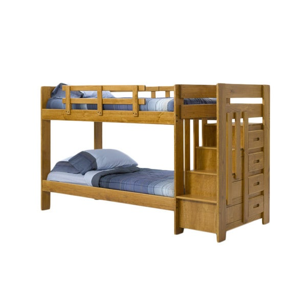 woodcrest heartland reversible stairway bunk bed - free shipping