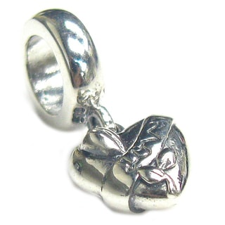 Queenberry Sterling Silver Petite Love on Heart with Flower Dangle European Bead Charm