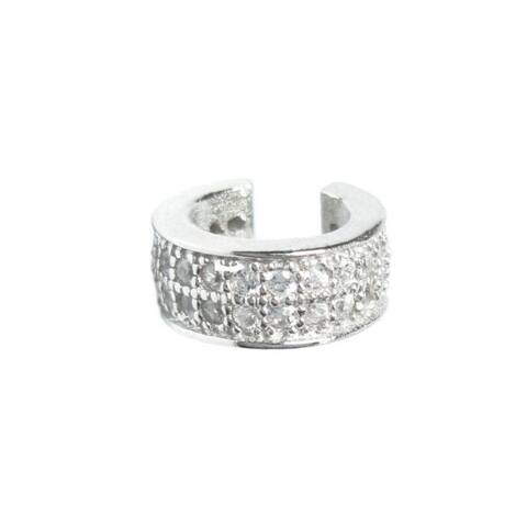 Queenberry Rhodium Sterling Silver Double Row Round Cubic Zirconia Cuff Earrings