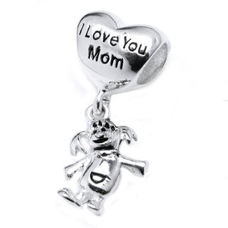 Queenberry Sterling Silver 'I Love You Mom' Heart Dangle European Bead Charm