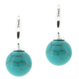 Queenberry Sterling Silver 10mm Round Turquoise Dangle Earrings