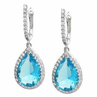 Queenberry Sterling Silver Teardrop Aquamarine Glass/ Cubic Zirconia Earrings