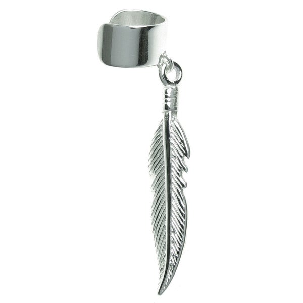 Queenberry Sterling Silver Feather Dangle Cuff Earring