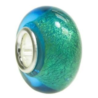 Queenberry Sterling Silver Round Blue Beach Glass European Bead Charm