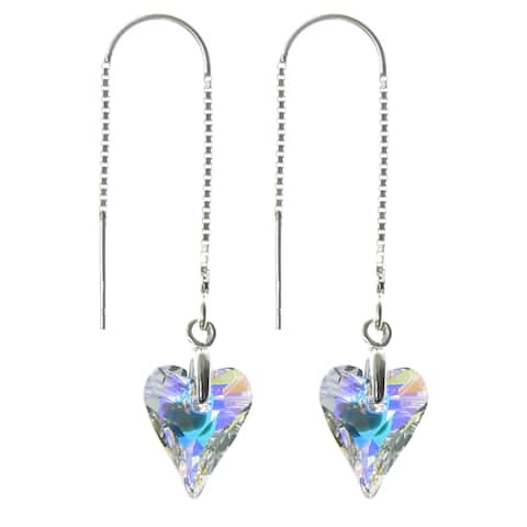 Queenberry Sterling Silver Aurora Borealis Austrian Crystal Element Crystal Heart Dangle Earrings