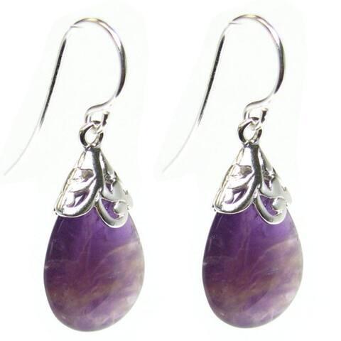 Queenberry Sterling Silver Filigree Flower Teardrop Amethyst Dangle Earrings