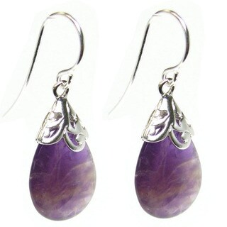 Queenberry Sterling Silver Filigree Flower Teardrop Amethyst Dangle Earrings