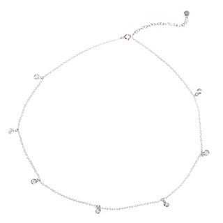 Queenberry 16-inch Sterling Silver Round Clear Cubic Zirconia Link Rolo Chain Necklace with Extender