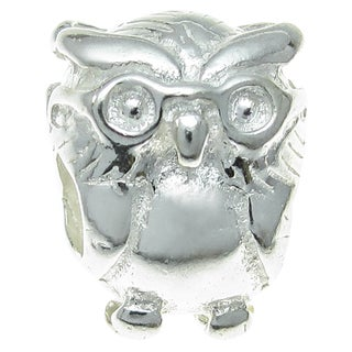 Queenberry Sterling Silver Wise Owl European Bead Charm