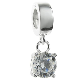 Queenberry Sterling Silver April Birthstone Cubic Zirconia Dangle European Bead Charm
