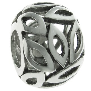 Queenberry Sterling Silver Leaf Rondelle European Bead Charm