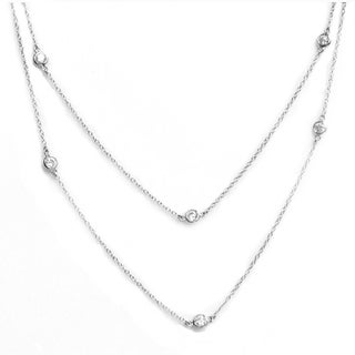 Queenberry 36-inch Sterling Silver Round Clear Cubic Zirconia Rolo Chain Necklace