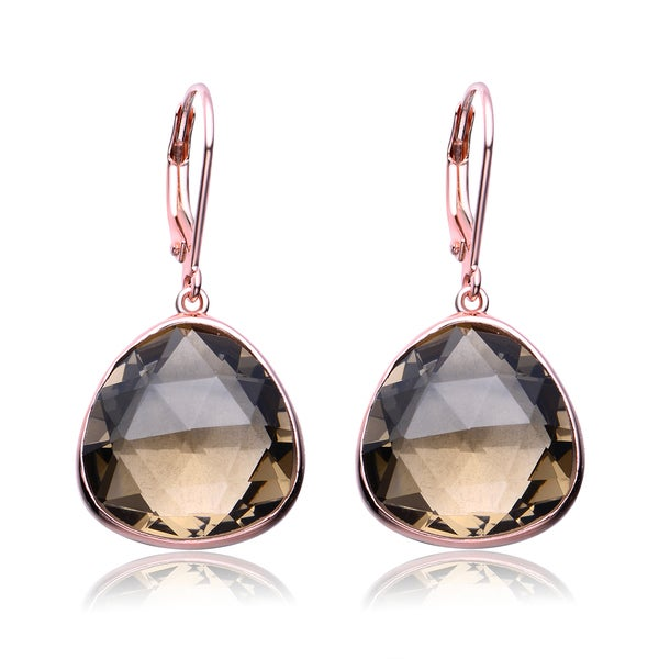 Collette Z Roseplated Sterling Silver Smokey Cubic Zirconia Dangling Earrings