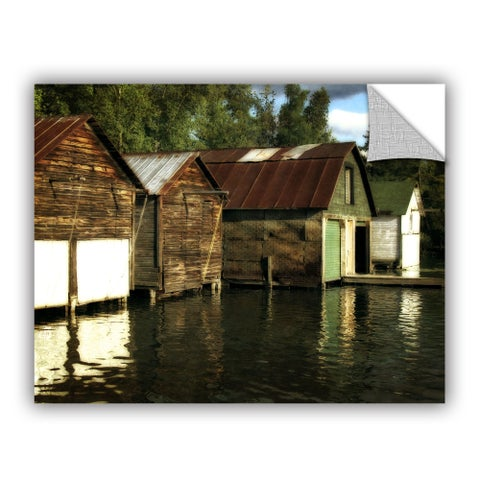 ArtWall Kevin Calkins ' Boathouses On The River ' Art Appeals Removable Wall Art