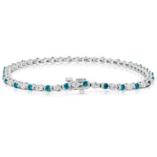 Suzy Levian 14k White Gold 2ct TDW Blue and White Diamond Tennis Bracelet (H-I, SI1-S12)