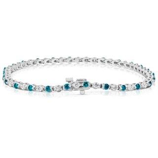 Suzy Levian 14k White Gold 2ct TDW Blue and White Diamond Tennis Bracelet (H-I, SI1-S12)